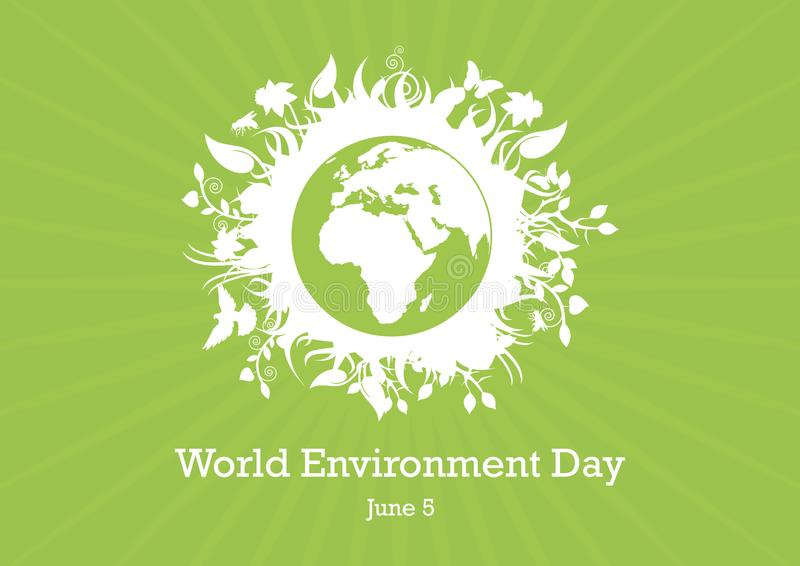 World Environment Day Eco Planet Earth vector. Green planet earth vector. Planet Earth with fauna and flora vector. Environmental concept with eco planet earth stock illustration