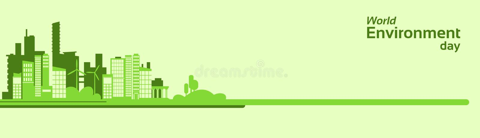 World Environment Day Green Silhouette City Eco Banner vector illustration