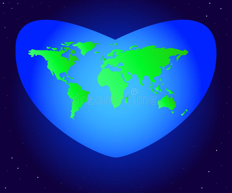 World Environment Day. Vector illustration of the mainland planet Earth green in a beautiful blue heart. stock illustration