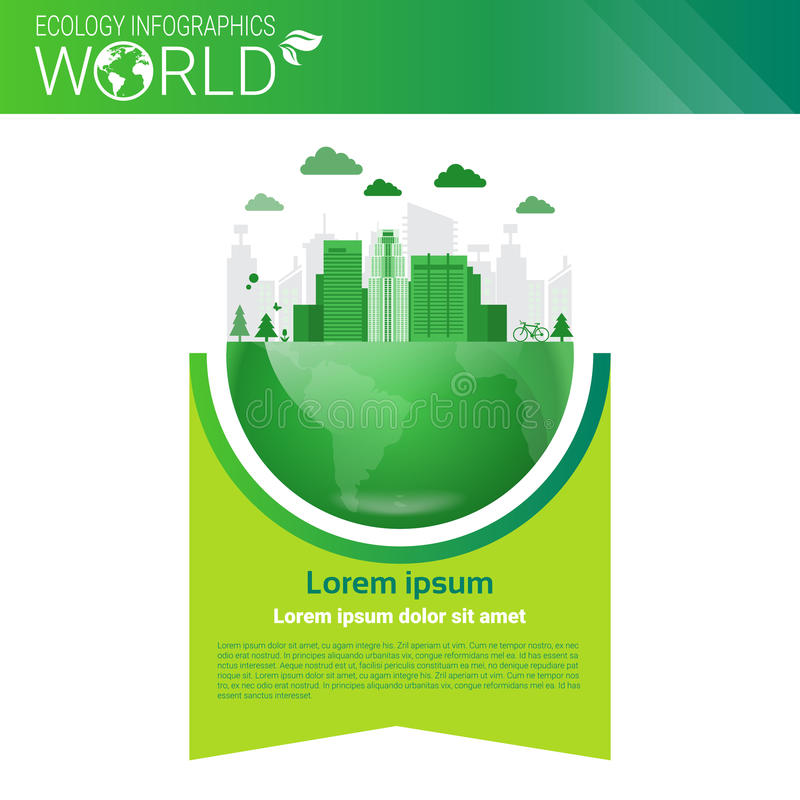 World Environmental Protection Green Energy Ecology Infographics Banner With Copy Space. Vector Illustration stock illustration