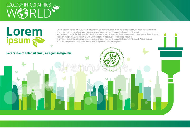 World Environmental Protection Green Energy Ecology Infographics Banner With Copy Space. Vector Illustration vector illustration