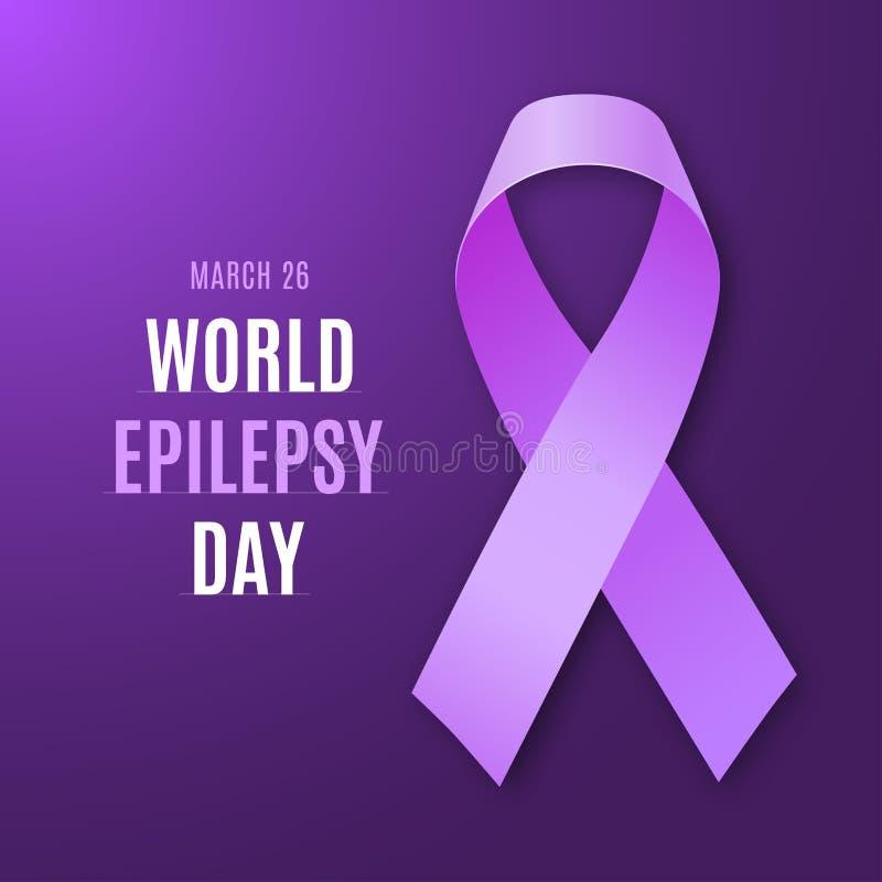 World epilepsy day. Purple ribbon on bright dark violet background. Epilepsy solidarity symbol. Vector illustration royalty free illustration