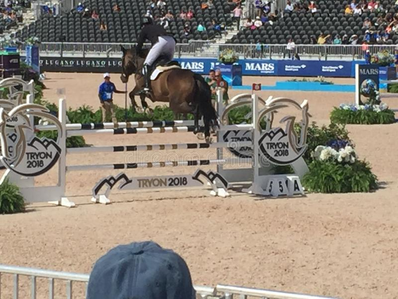 2018 world Equestrian games - Eventing Show jump finale. WEG hosted by Tryon International Equestrian Center in Mill Springs, North Carolina. Eventing Dressage stock images