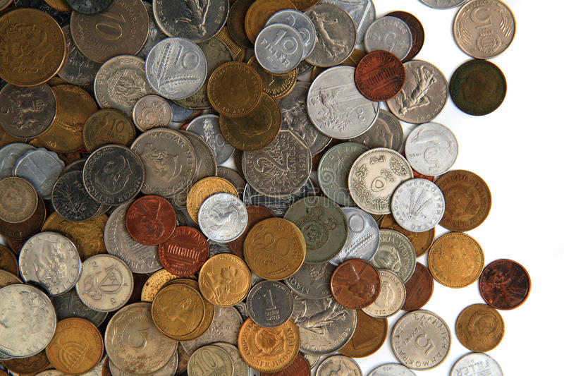 World and eruopean coins royalty free stock photos