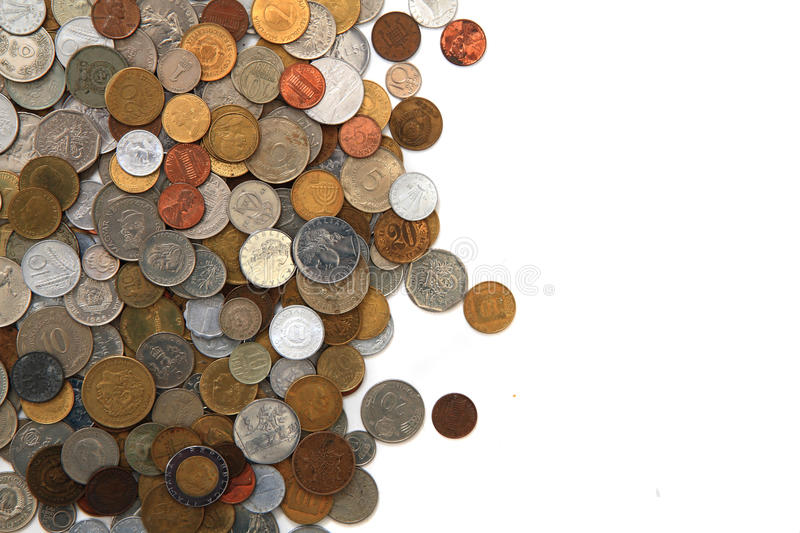 World and eruopean coins stock photo