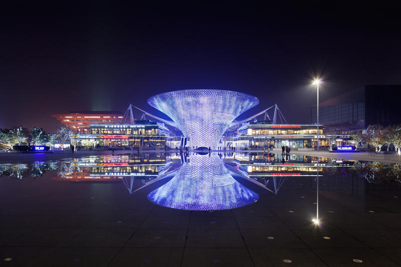 World Expo Shopping Boulevard at night, Shanghai, China royalty free stock images