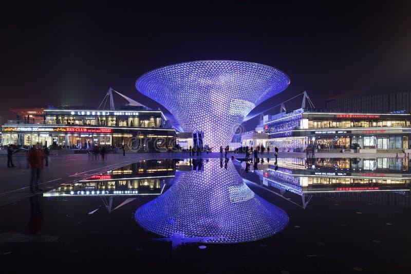 World Expo Shopping Boulevard at night, Shanghai, China stock images