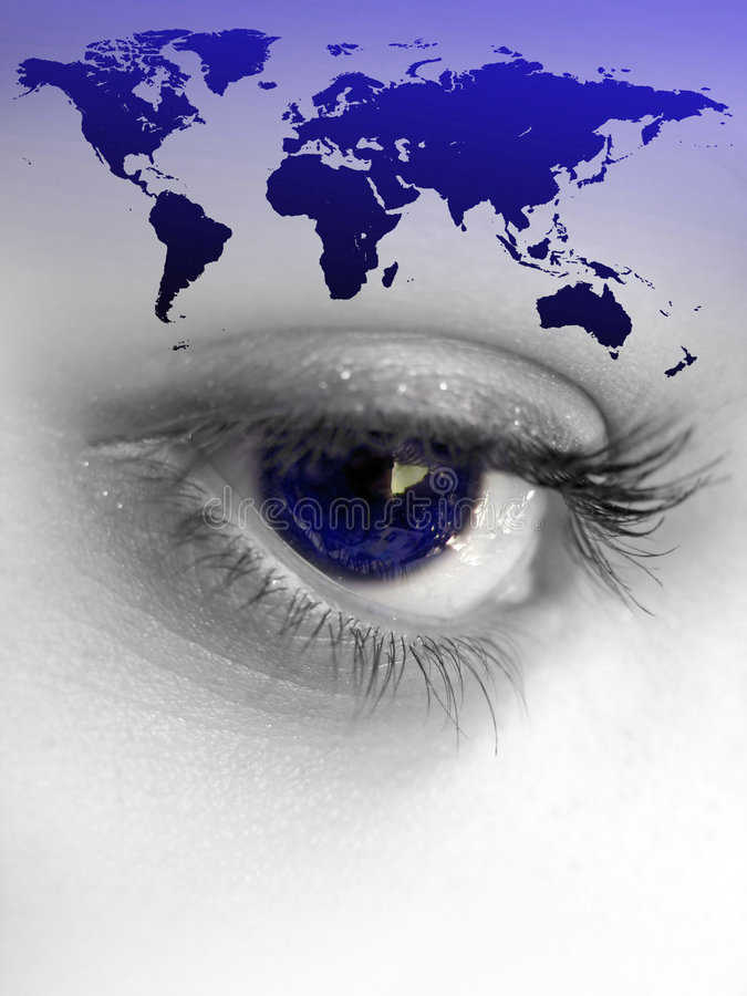 World Eye. Montage of a pretty color isolated eye with the world continents royalty free illustration