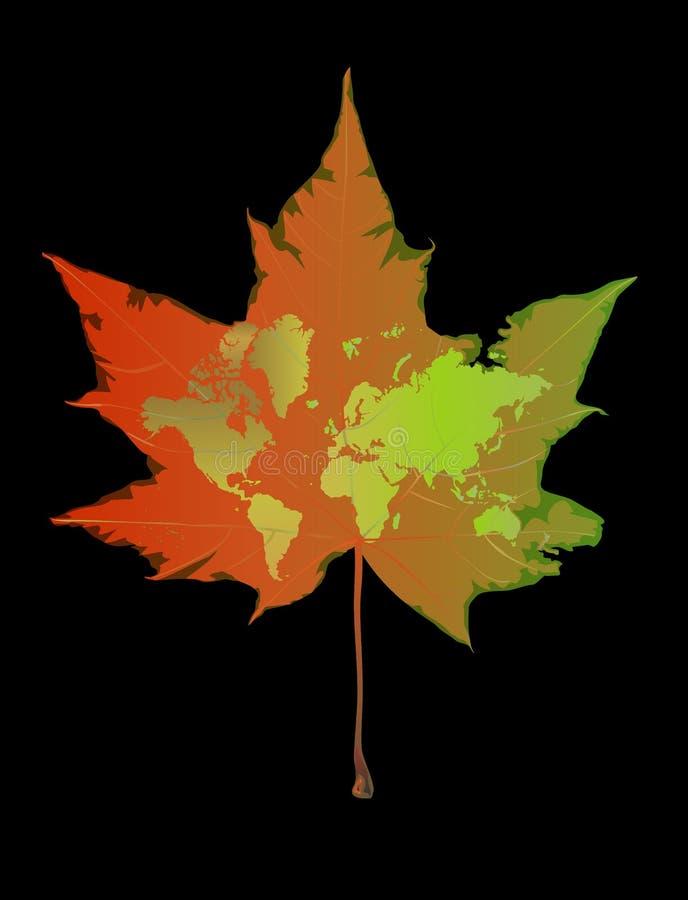 World on fading leaf. Of maple vector illustration