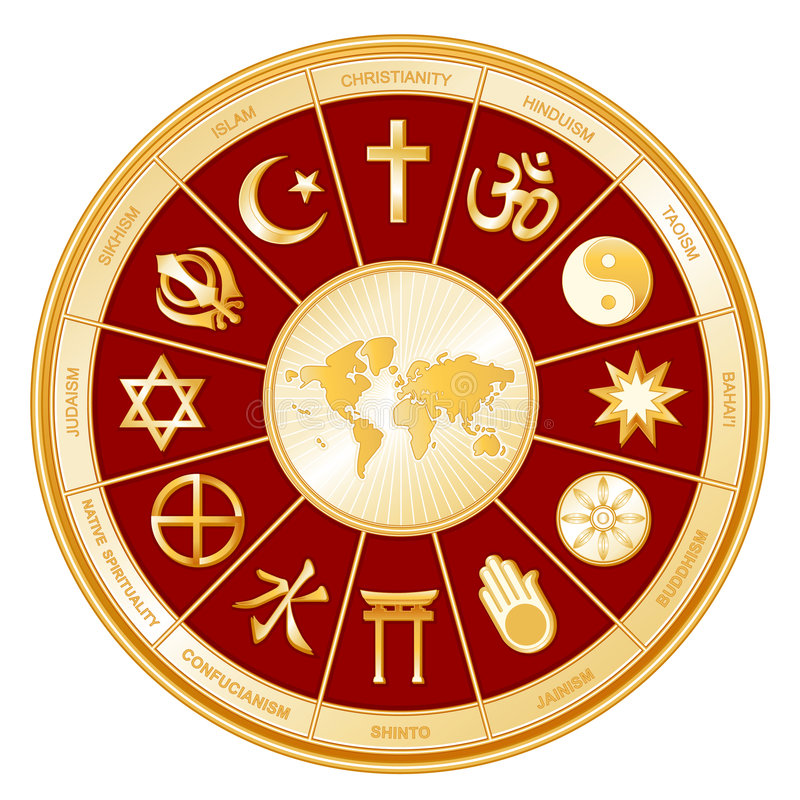 World of Faith, Religions, Globe Map royalty free illustration