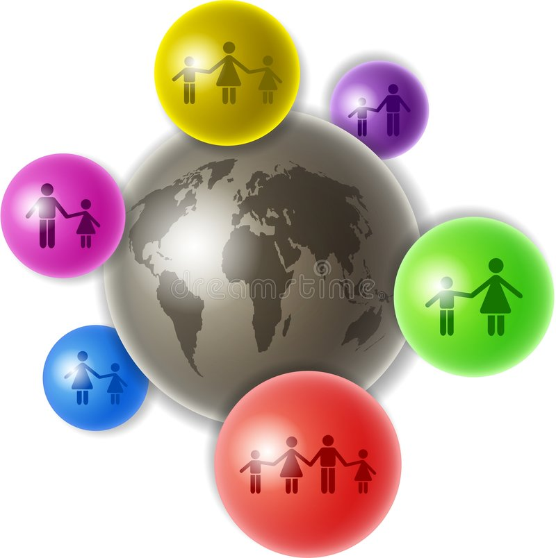 World of families. World globe surrounded by smaller spheres containing family related icons - showing single parents and couples with children