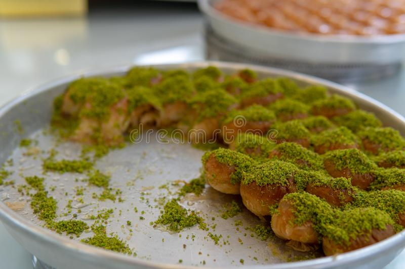 Baklava For Sale. in Gaziantep. World famous baklava in Gaziantep southeast turkey, food, above, abstract, background, baked, board, cake, candy, circle stock photos