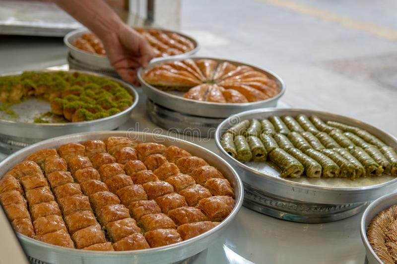 Baklava For Sale. in Gaziantep royalty free stock images