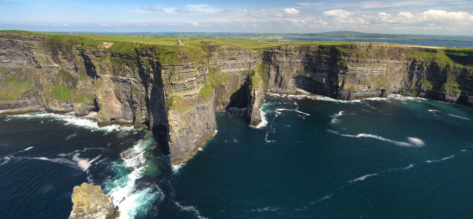 World famous birds eye aerial drone panoramic view of the Cliffs Of Moher County Clare Ireland. World famous birds eye aerial drone view of the Cliffs of Moher stock photo