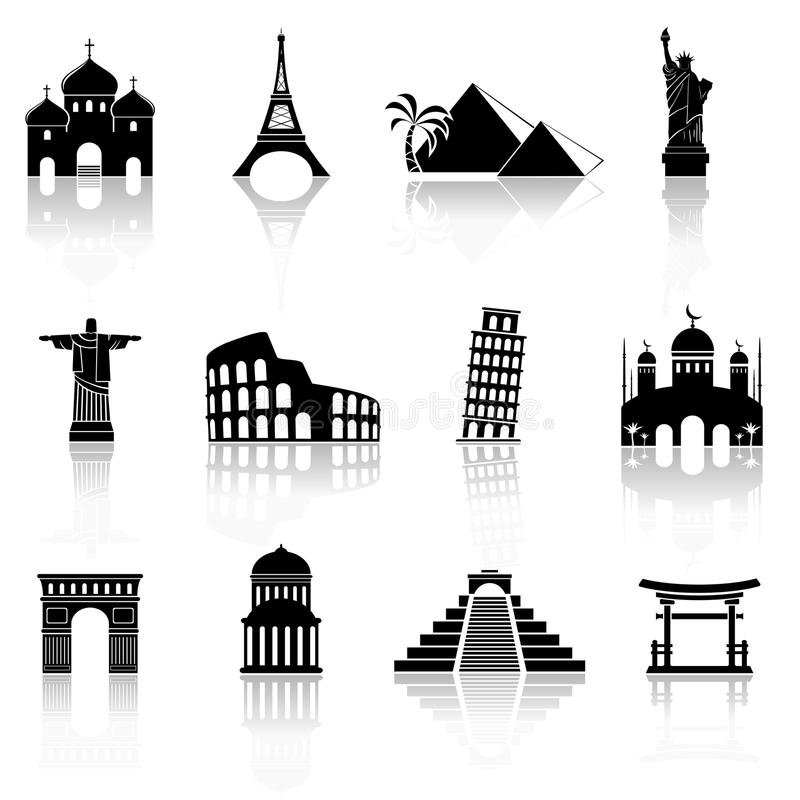 World famous buildings abstract silhouettes vector illustration