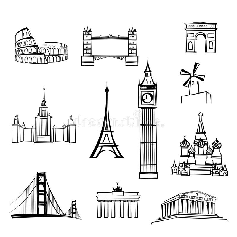 World famous city landmarks Travel locations icon set Sightseeings of London, Rome, Berlin, Athens, Moscow, San Francisco, Paris. World tourist attractions stock illustration