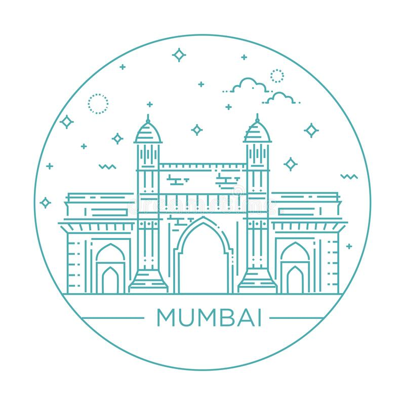 Gate way of India Mumbai Illustration stock illustration