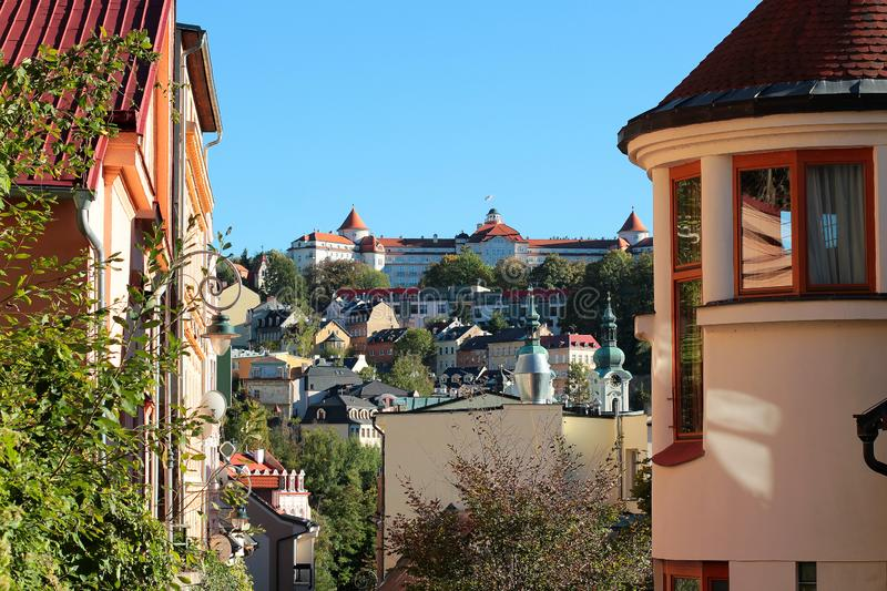World-famous for its mineral springs, the town of Karlovy Vary Karlsbad. Czech Republic.  stock image