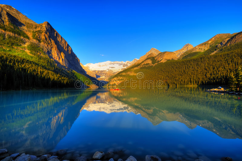 World famous Lake Louise. Classic view of world famous Lake Louise, Canada stock image