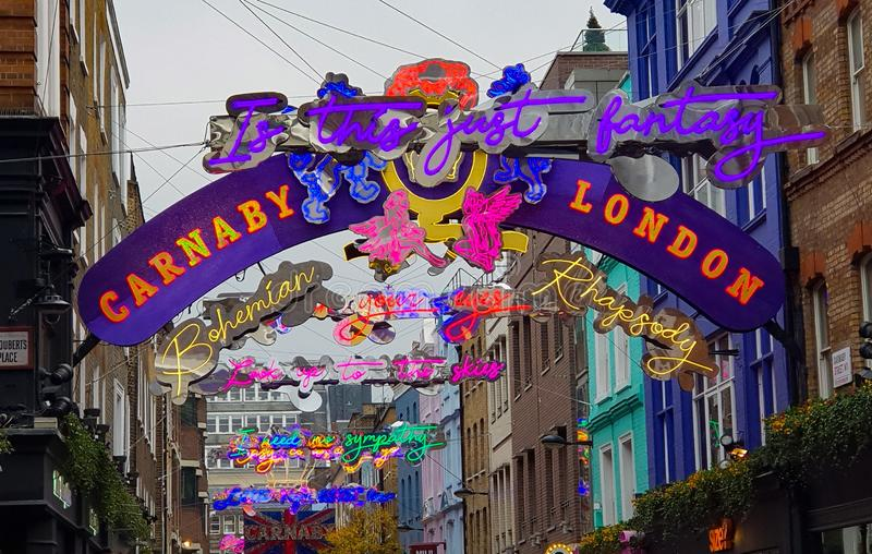 Carnaby Street, London, Christmas lights display royalty free stock photography