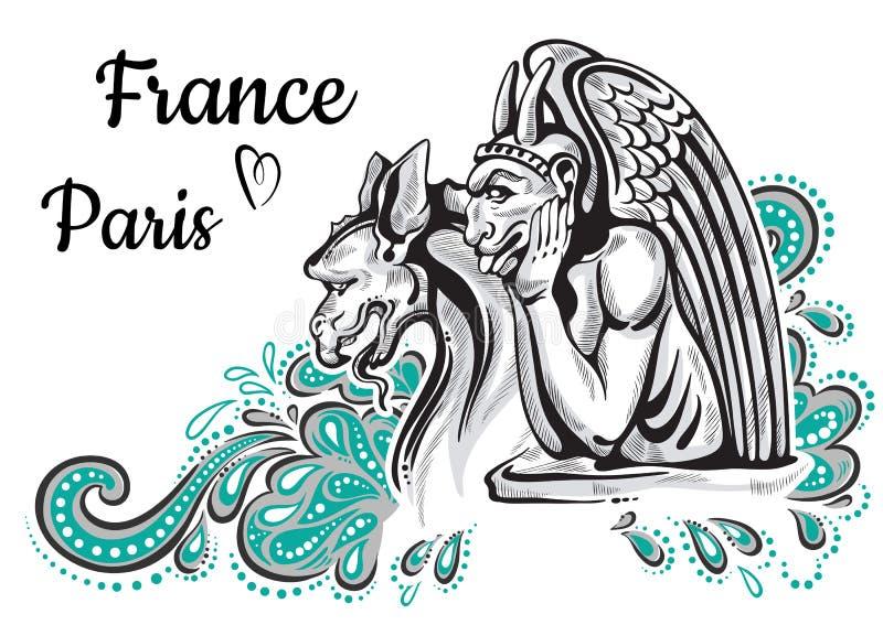 World famous landmark collection. France, Paris. Notre-Dame de Paris. Gargoyles. Beautiful vector artwork colorful decorated. stock illustration