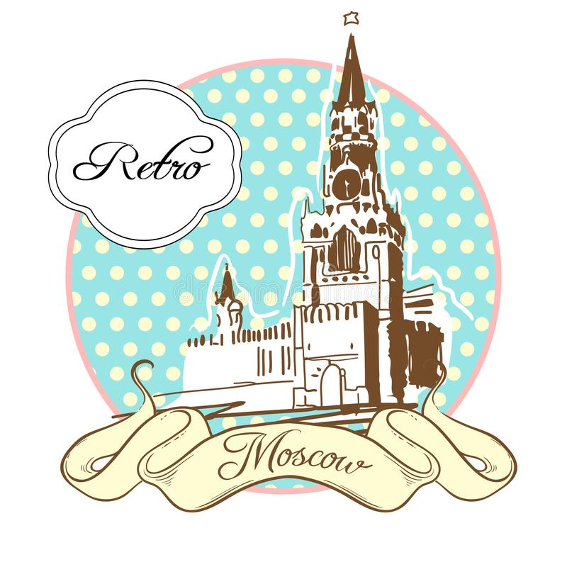 World famous landmark collection in retro style. Russia. Moscow. Red Square. The Kremlin. Vector illustration isolated on white vector illustration