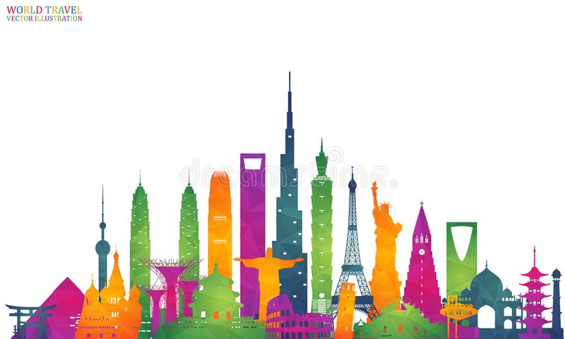 World famous Landmark colorful art. Global Travel And Journey In stock illustration