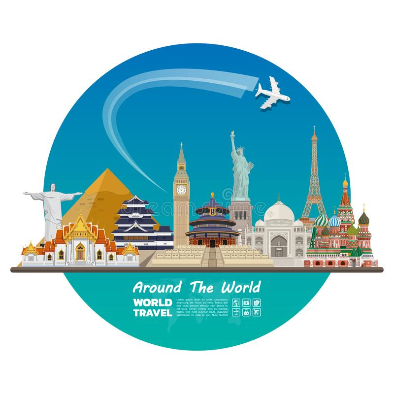 World famous Landmark paper art. Global Travel And Journey Infographic . Vector Flat Design Template.vector/illustration.Can be u royalty free illustration