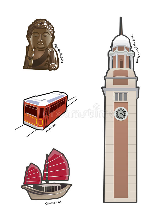World famous landmarks and icons in Hong Kong stock illustration