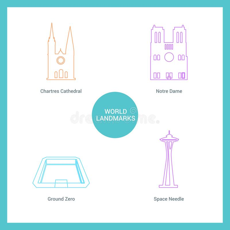 World Famous landmarks and monuments design with white background vector royalty free illustration