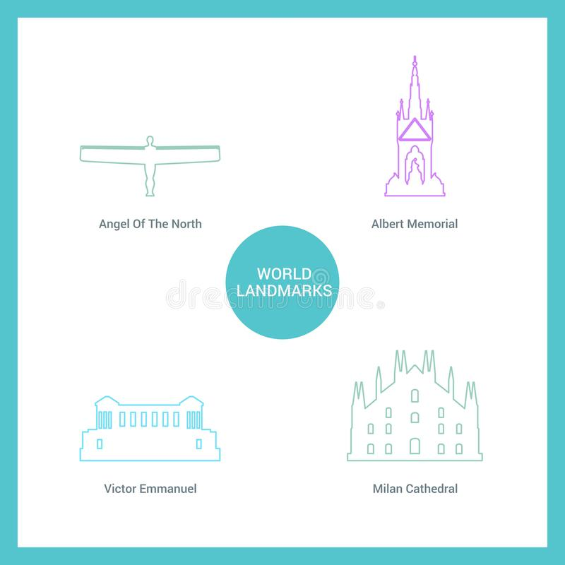 World Famous landmarks and monuments design with white background vector stock illustration