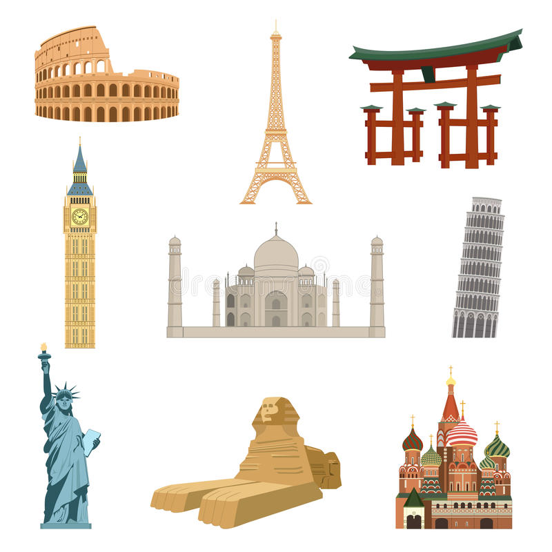 World famous landmarks stock illustration