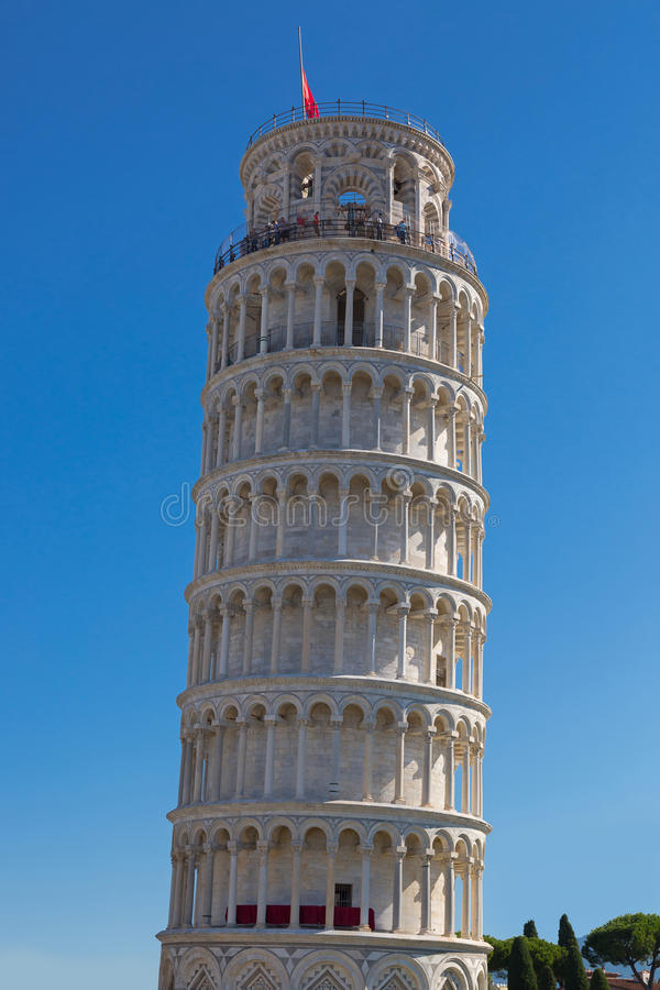 World famous Leaning Tower of Pisa, Italy. PISA, ITALY - SEPTEMBER 2016 : World famous Leaning Tower of Pisa (Torre pendente di Pisa), freestanding bell tower royalty free stock photography