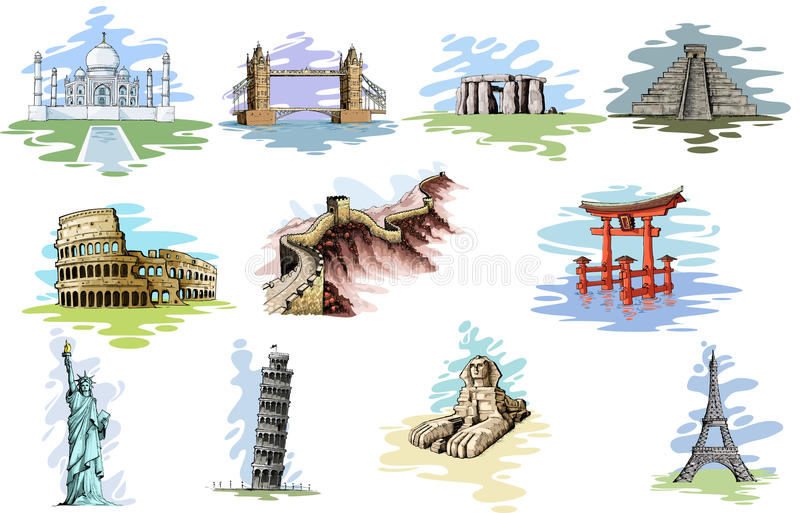Download World Famous Monument stock vector. Illustration of historic - 32908979