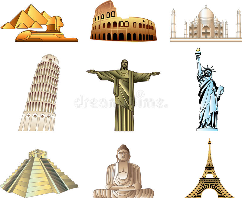 World famous monuments royalty free illustration