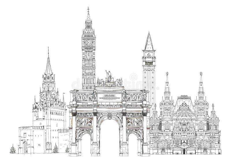 World famous monuments. Paris, London, Moscow stock illustration