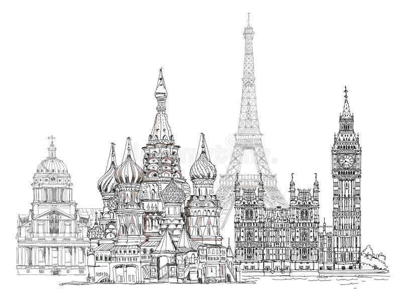 World famous monuments. Paris, London, Moscow vector illustration