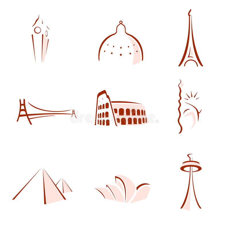World famous monuments stylized. Vectorial stylized illustrations for the world most famous symbols and landmarks, as eiffel tower, golden gate, saint peter