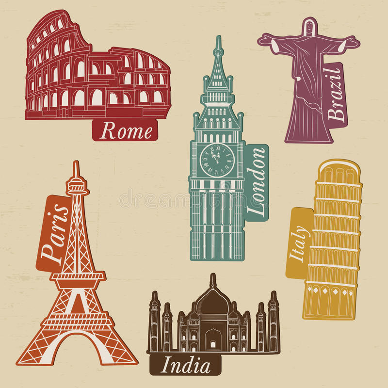 World famous monuments for tour and travel. stock illustration