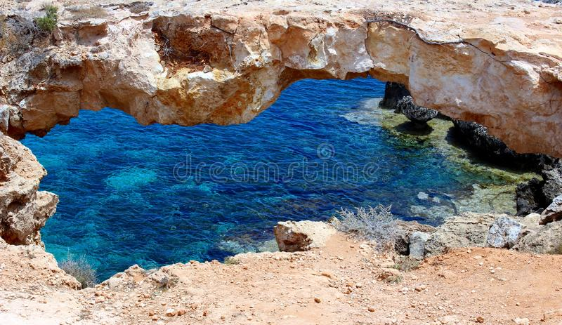The world famous natural bridge of Ayia Napa Sea caves,Cyprus stock images