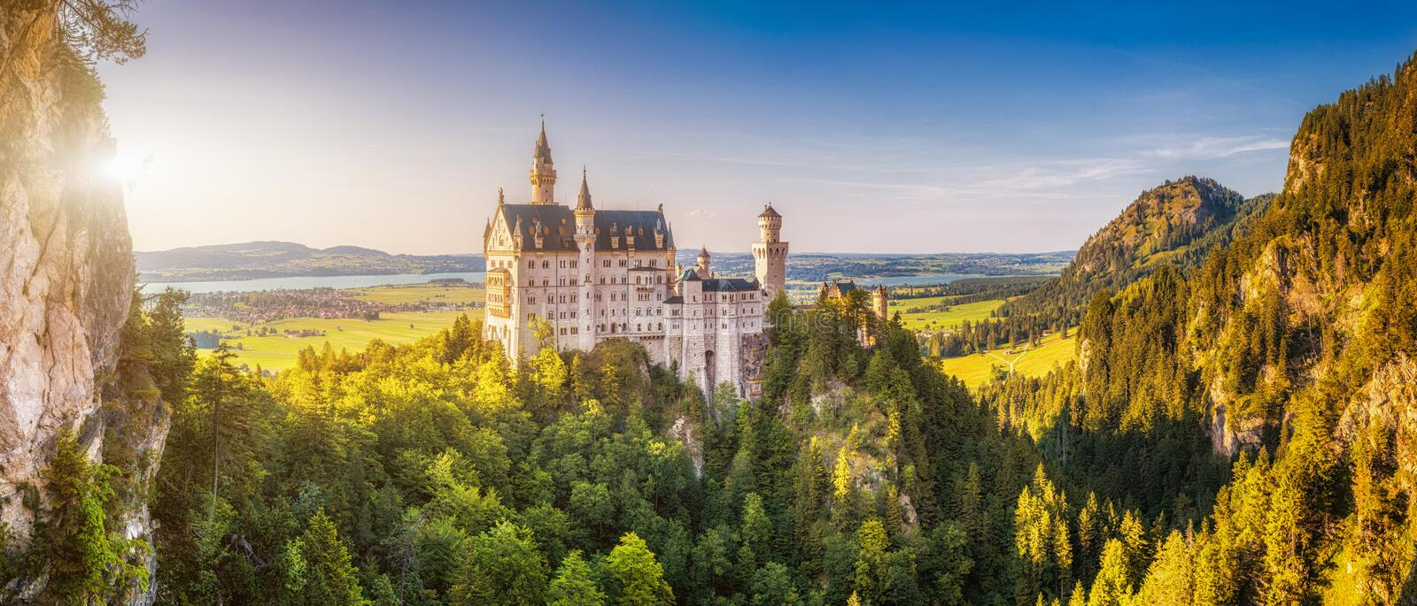 World-famous Neuschwanstein Castle in beautiful evening light, Fussen, Germany. Beautiful view of world-famous Neuschwanstein Castle, the 19th century Romanesque stock photography