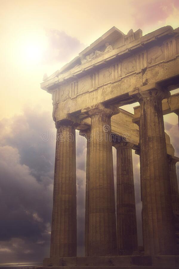 The world famous Parthenon at the ancient Acropolis of Athens royalty free stock photography