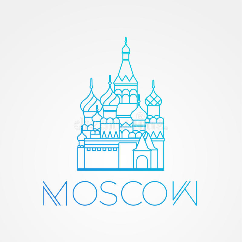 World famous St. Basil Cathedral. Greatest Landmarks of europe.. Linear vector icon for Moscow Russia. stock illustration