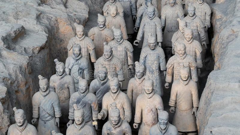 World famous Terracotta army, collection of ancient chinese warriors sculptures crafted from clay, China royalty free stock photos