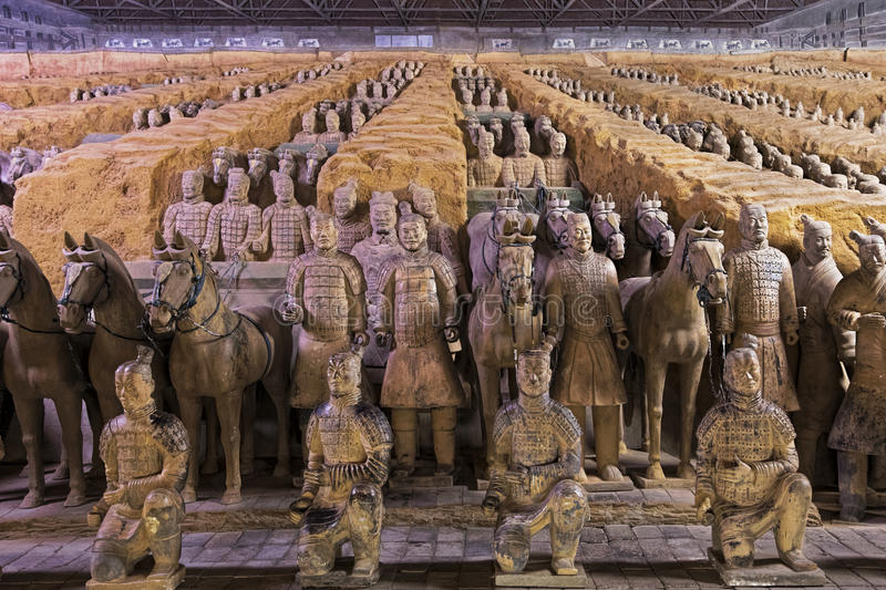 World famous Terracotta Army located in Xian China. The world famous Terracotta Army, part of the Mausoleum of the First Qin Emperor and a UNESCO World Heritage stock image