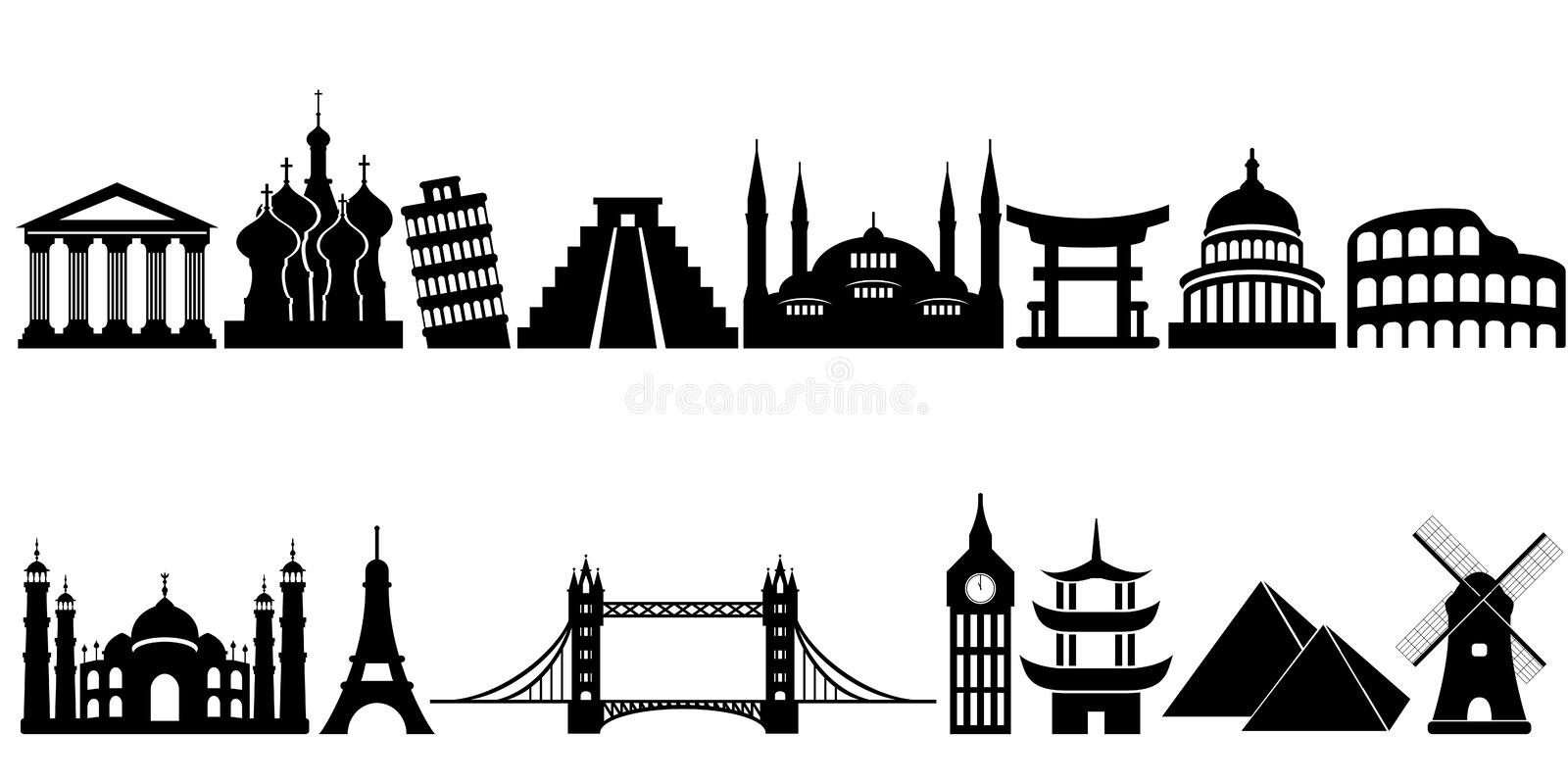 World famous travel landmarks and monuments royalty free illustration