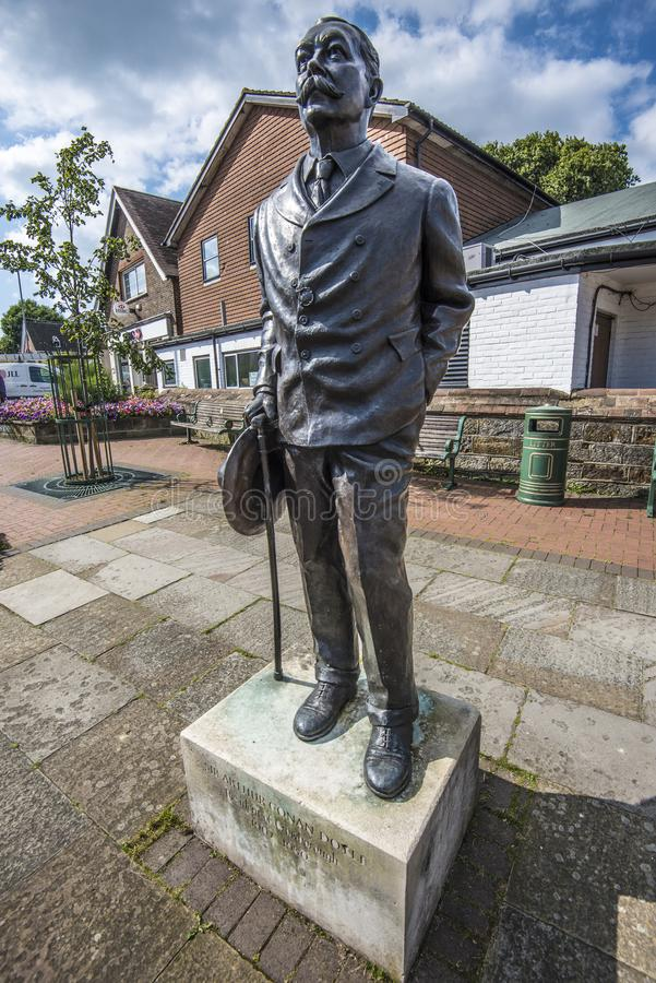 Crowborough, East Sussex: The statue of Sir Arthur Conan Doyle, creator of Sherlock Holmes. This world famous writer`s books have sold by the million. Films and stock images