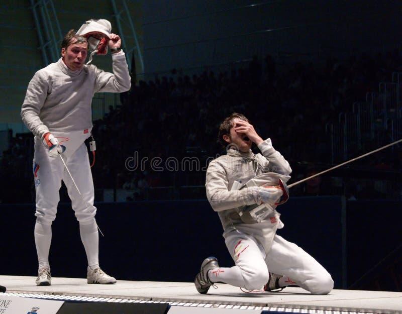 World Fencing Championship 2006; Pozdniakov-Pina royalty free stock photo