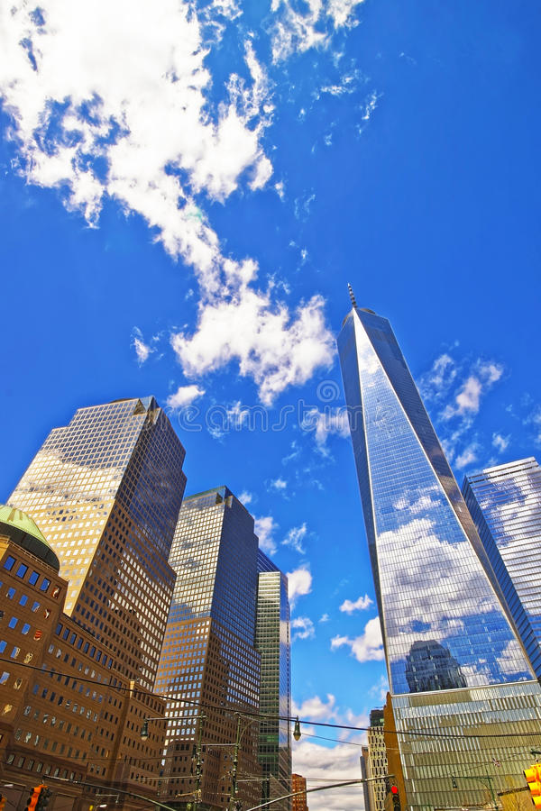 World Financial Center and Freedom Tower. New York, USA - April 24, 2015: World Financial Center and Freedom Tower in Financial District in Lower Manhattan, New stock image