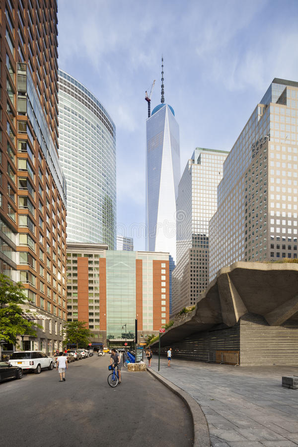 World Financial Center, New York, editorial. New York City - June 23: World Financial Center in New York with the One World Trade Center in the background on stock image